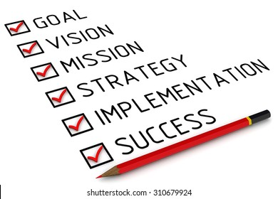 Business plan: goal, vision, mission, strategy, implementation, success. Red pencil and a checklist with red marks