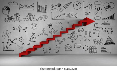 Business planning and growth concept with red staircase as arrow (3D Rendering)