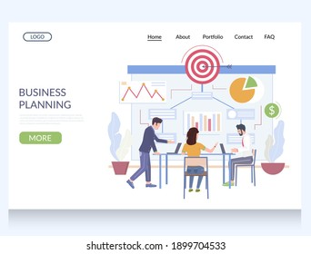 Business planning website template, web page and landing page design for website and mobile site development. Work process management, scheduling, business strategy, goal.