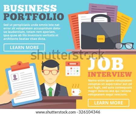 Business Portfolio Job Interview Flat Illustration Stock