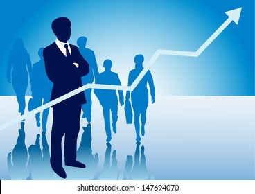 Business presentation background for slides with business graph arrow pointing up and a group af business men and women walking with copy space for your writing