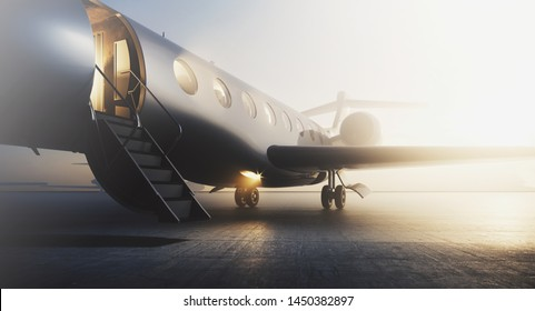 Business private jet airplane parked at terminal. Luxury tourism and business travel transportation concept. Closeup. 3d rendering
