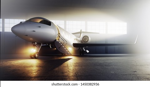 Business private jet airplane parked at terminal. Luxury tourism and business travel transportation concept. 3d rendering