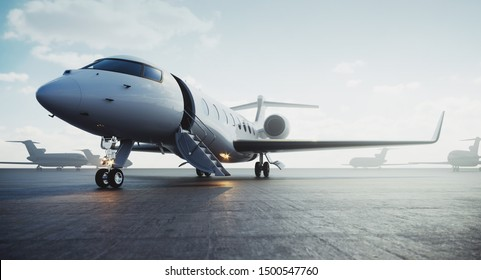 Business private jet airplane parked at outside and waiting vip persons. Luxury tourism and business travel transportation concept. 3d rendering