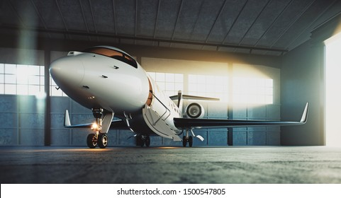 Business private jet airplane parked at maintenance hangar and ready for take off. Luxury tourism and business travel transportation concept. 3d rendering