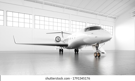 Business private jet parked at white maintenance hangar and ready for take off. Luxury tourism and business travel transportation concept. White airplane with golden elements. 3d rendering