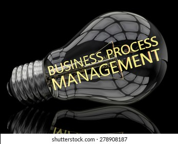 Business Process Management - lightbulb on black background with text in it. 3d render illustration.