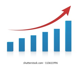 Business profit growth graph chart with reflection, isolated on white background.