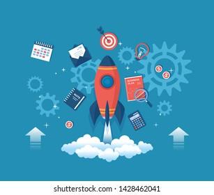Business project startup, financial planning, idea development process, strategy, management, realization and success. Rocket launch spaceship, business plan, hourglass, target, money, calendar Raster