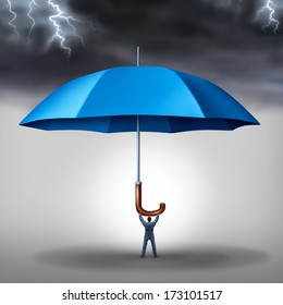 Business protection risk management and tax shelter as a businessman holding a blue umbrella with storm and lightning above as a metaphor for security stress and a financial risks reduction concept.