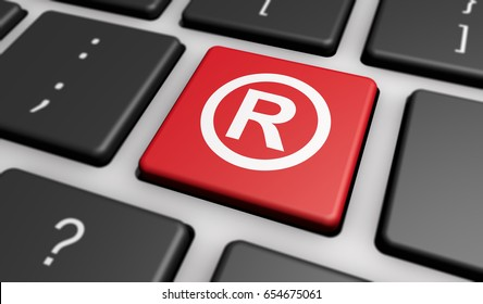 Business registered trademark concept with symbol and icon on a red computer key 3D illustration.