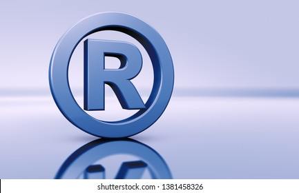 Business registered trademark symbol concept with blue sign icon on defocused background with copyspace 3D illustration.