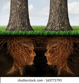 Business roots concept as a partnership relationship of two growing trees with their root system in a human head shape as a metaphor for teamwork contract and agreement through communication network.