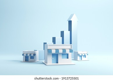 Geschäftswachstum und Erweiterung der Shop-Franchise, Kopienraum. 3D-Rendering.