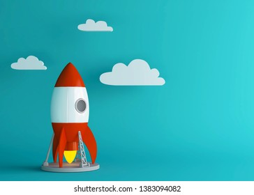 Business setup or project take off concept. Cartoon rocket launches into bright sky.  Minimal style. 3d render.