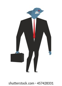 Business shark. Businessman with head sea predator. An evil predatory fish in biz suit. Deep animal with briefcase and tie