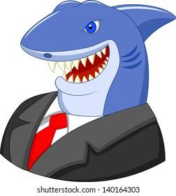 Business shark cartoon