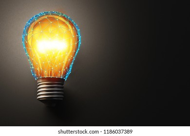 Business solution, concept of creative idea and technology of blockchain, a grid of blue connected lines around a bright light bulb on a dark background, 3d illustration