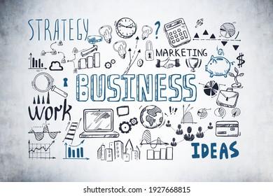 Business strategy plan on concrete wall, doodle sketch set. Business finance chart graph, success achieving
