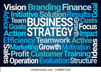 Business Strategy Word Cloud on Blue Background