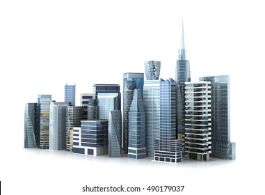 business structure concept. Glass skyscrapers, Grod, isolated on white background. 3D illustration