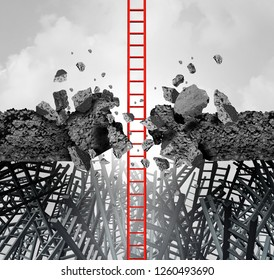 Business success breakthrough metaphor symbol of a career ladder breaking through an obstacle to achieve a financial or life goal with 3D illustration elements.