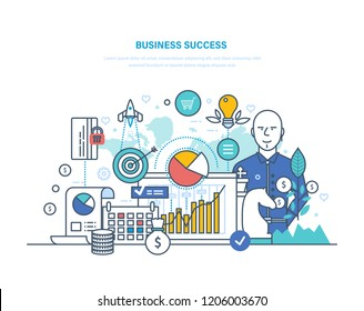 Business success concept. Achievement big profit, high goals, financial well-being, growth on career ladder. Success investment, leadership, growth in work, luck. Illustration thin line design.