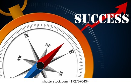 Business success concept with compass, 3d rendering