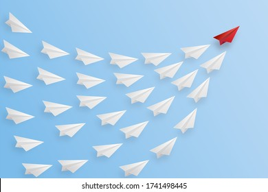Business success design of Leadership concept, standing out from the crowd of paper airplane as target , startup , creative idea and communication concept.