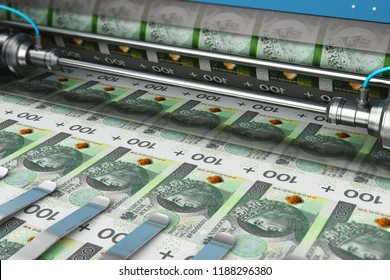 Business success, finance, banking, accounting and making money concept: 3D render illustration of printing 100 PLN Polish zloty money paper cash banknotes on print machine in typography