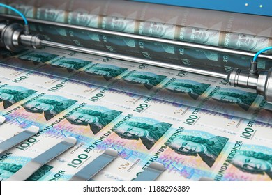 Business success, finance, banking, accounting and making money concept: 3D render illustration of printing 100 SEK Swedish krona money paper cash banknotes on print machine in typography