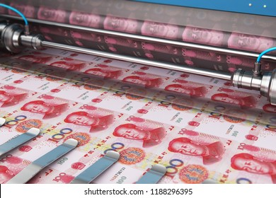 Business success, finance, banking, accounting and making money concept: 3D render illustration of printing 100 Chinese yuan money paper cash banknotes on print machine in typography