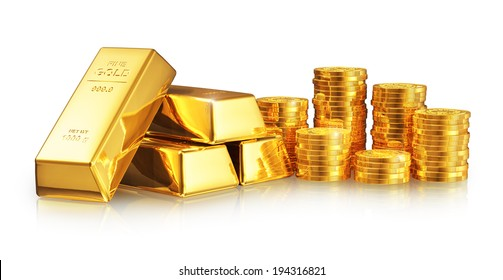 Business success, finance, wealth, banking and stock exchange market investment concept: group of gold ingots or bullions and stacks of golden coins isolated on white background with reflection effect