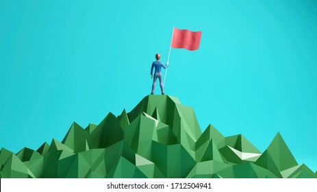 business, success, leadership, achievement and people concept. Businessman with flag on mountain top. 3D rendering