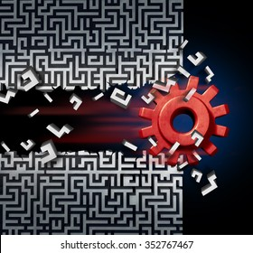 Business success solution concept as a machine gear or mechanical cog breaking through a maze or labyrinth as a metaphor for disruptive technology or ground breaking innovation.
