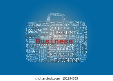 business suitcase made of business related words