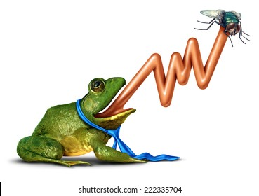 Business target and hitting the mark strategy concept as an anthropomorphic frog wearing a tie with a tongue shaped as an upward stock market chart catching a bug as a financial success metaphor.