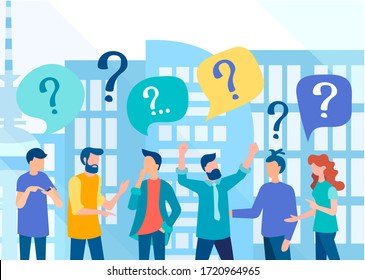 A business team in the background of a big city discusses urgent issues and problems. People ask questions, people are perplexed.