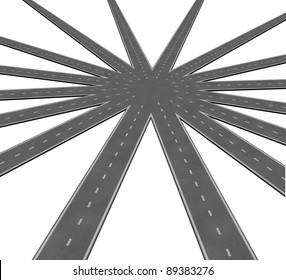 Business team connection symbol represented by a network of roads and highways merging to a center point showing teamwork and common goals vision and a clear path to a unified strategy.