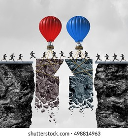 Business team coordination or political bipartisan support and group connection success as people connected by limited time opportunity as balloons connecting a bridge with 3D illustration elements.