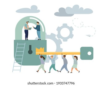 Business Team Holding Golden Key and Unlocking the Lock. Successful Businessman and Businesswoman Working Together. Business Solution Concept. Flat Isometric Illustration