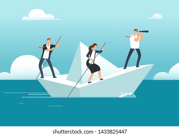 Business team with leader sailing on paper boat in ocean of opportunities to goal. Successful teamwork and leadership concept. Success people with main manager illustration