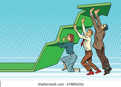 Business team lift up growth chart. Pop art retro  illustration. The joint work. Success rate