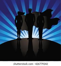 Business team super heroes marketing poster background design.