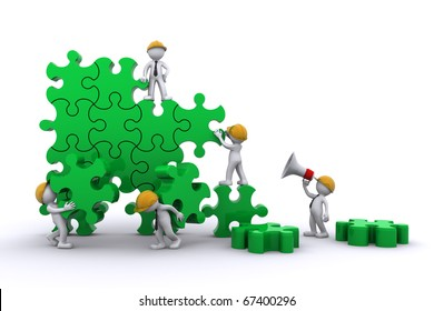 Business team work building a puzzle. Building business concept. Isolated