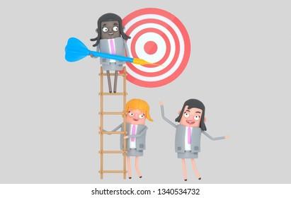 Business team working together. Dart. Dartboard.Isolated. 3d illustration