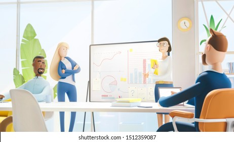Business teamwork concept. 3d illustration.  Cartoon characters. Modern office. Seminar business conference with workers in office, planning new strategy.