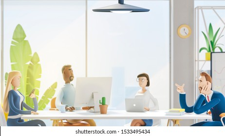 Business teamwork concept. 3d illustration.  Cartoon characters. Seminar business conference with workers in office, planning new strategy.