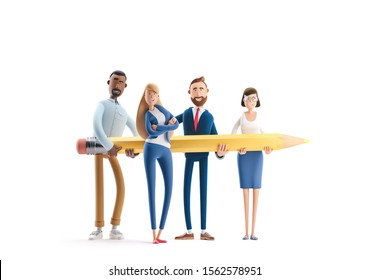 Business teamwork concept. 3d illustration.  Creative team with big yellow pencil on white background