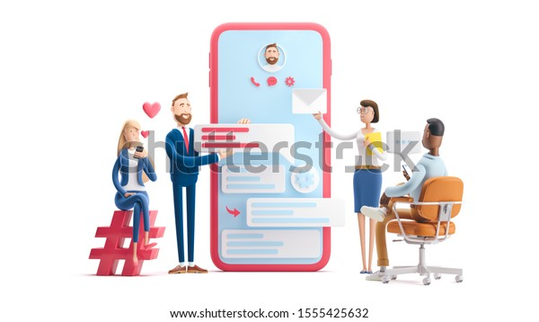 Business teamwork concept. 3d illustration.  Cartoon characters. Application development and social media concept on white background.